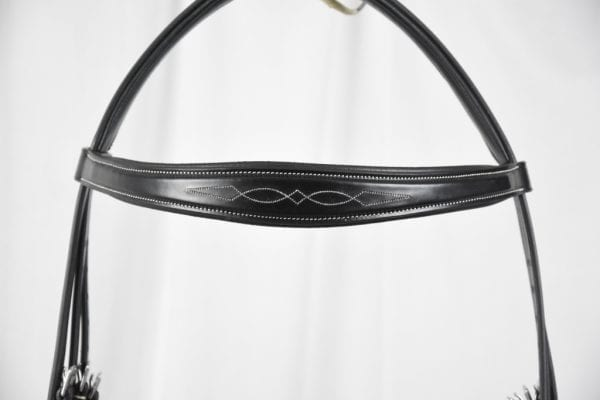 Browband Front Shaped Fancy Stitch, Black